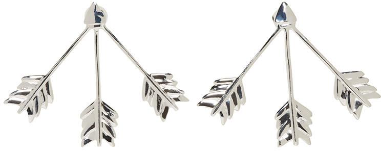 Pamela Love Silver Triple Arrow Earrings