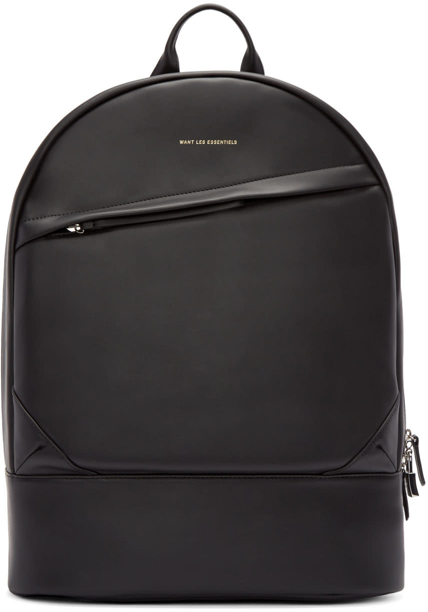 Want Les Essentiels Black Leather Kastrup Backpack