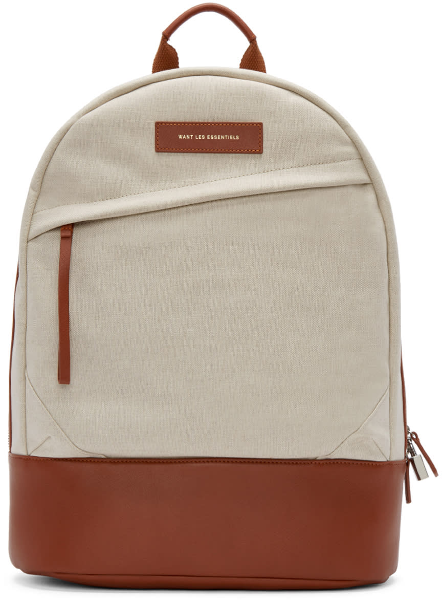 Want Les Essentiels Ecru Canvas Kastrup Backpack