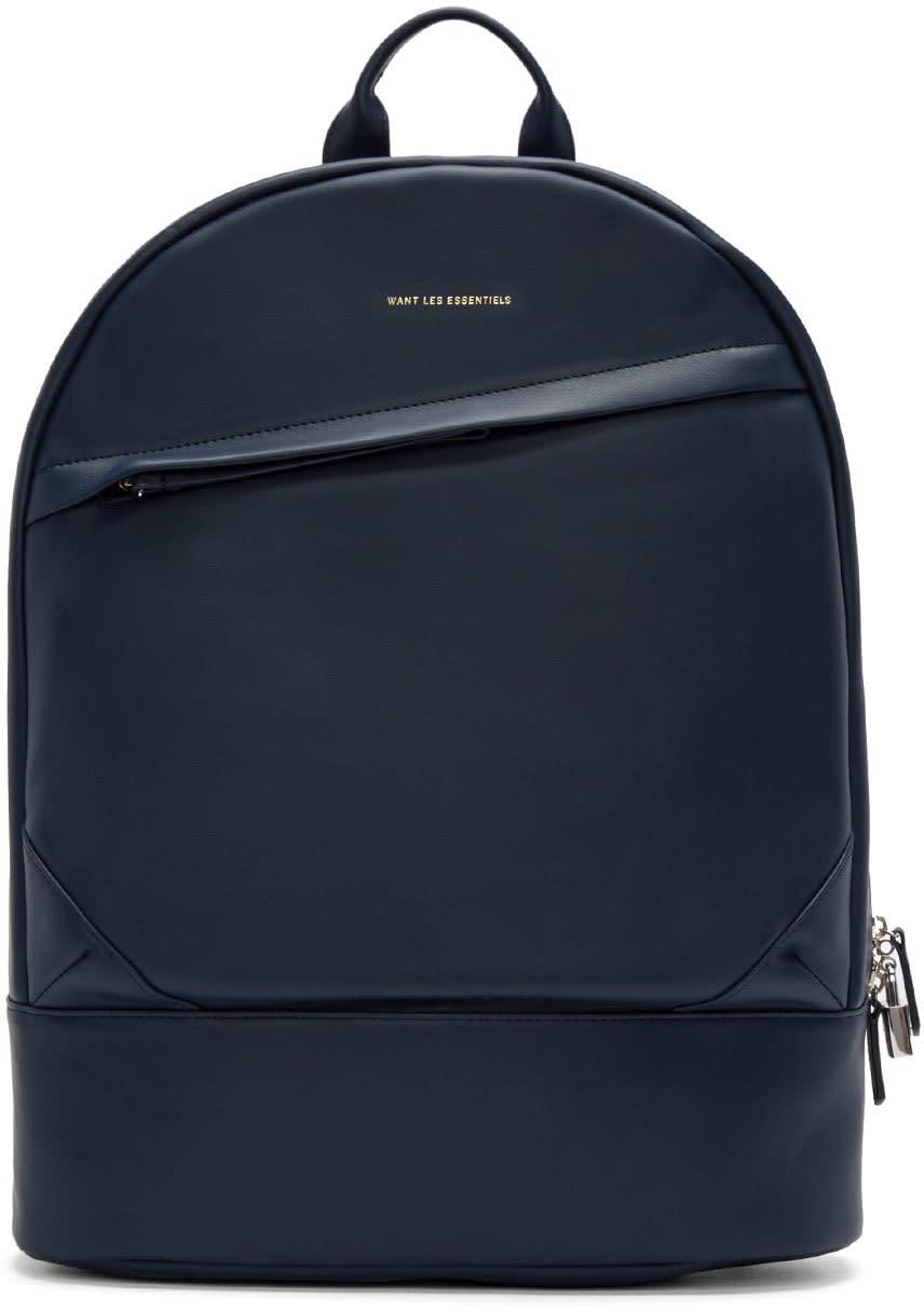 Want Les Essentiels Navy Leather Kastrup Backpack