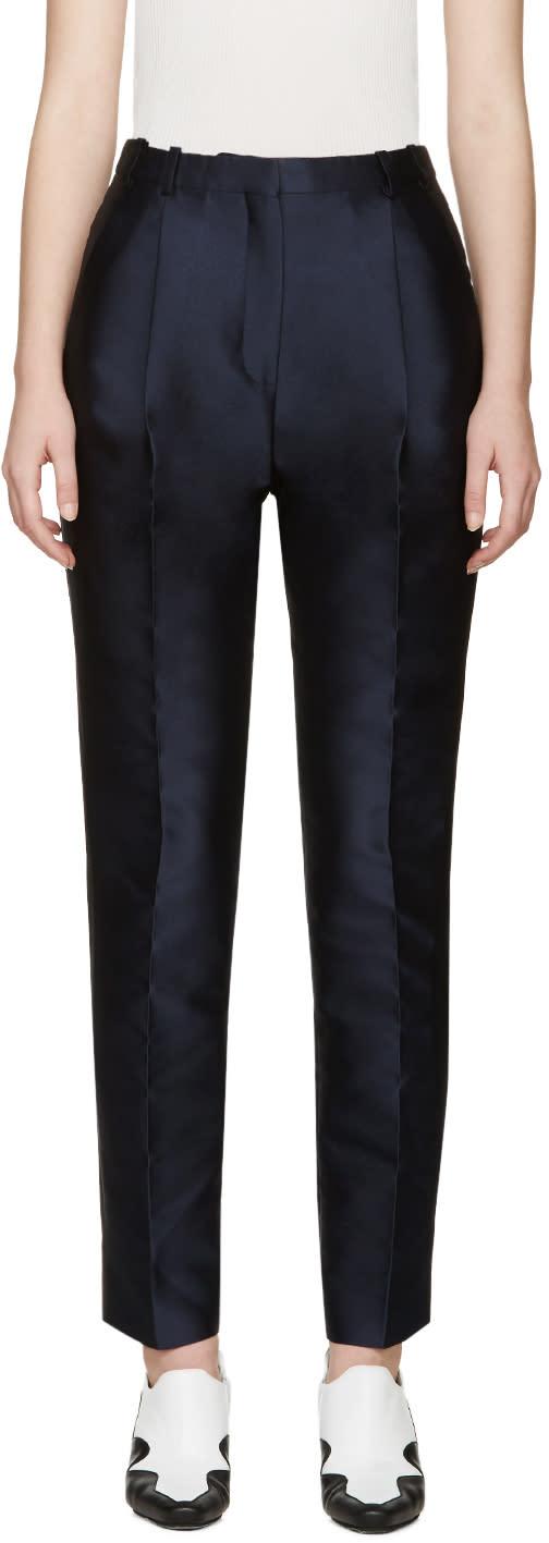 Carven Navy Satin Stripe Trousers