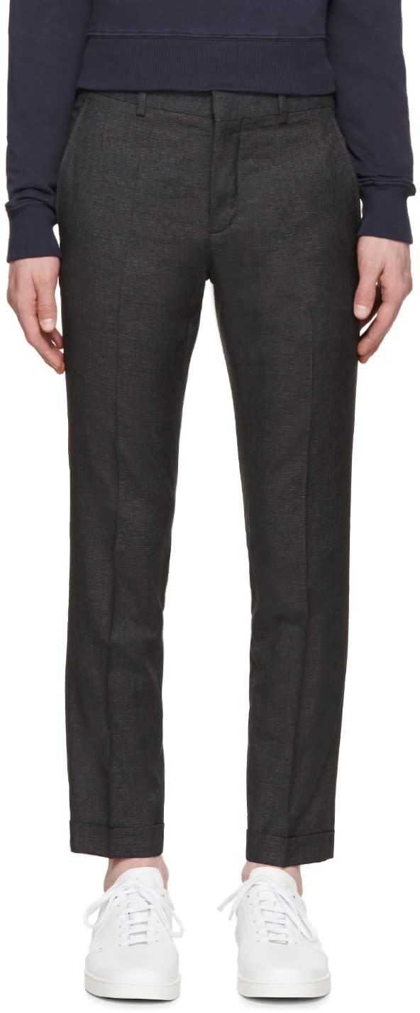 Carven Grey Wool Broken Check Trousers