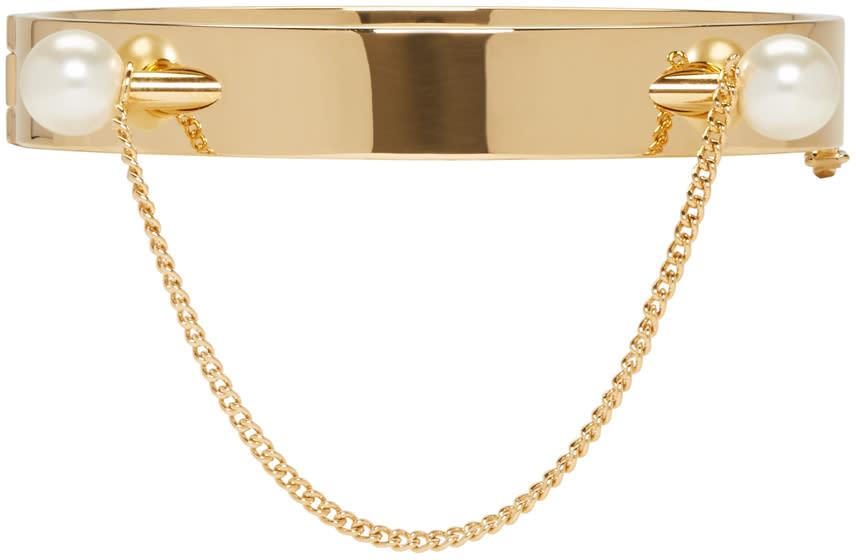 Chloé Gold Twin Pearl Darcey Bracelet