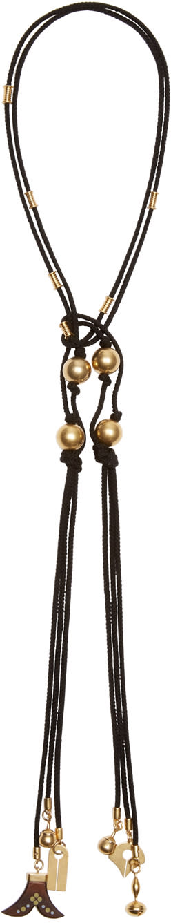 Chlo� Black Brass and Wood Tie Necklace