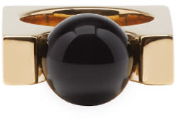 Chloé Gold and Black Square Darcey Ring