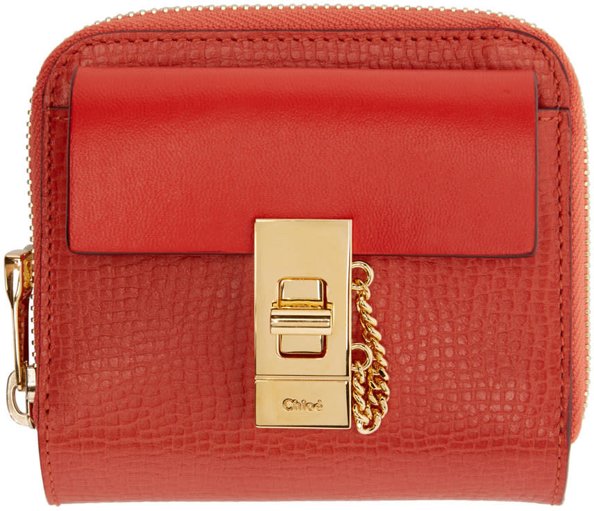 Chloe Red Leather Square Drew Wallet