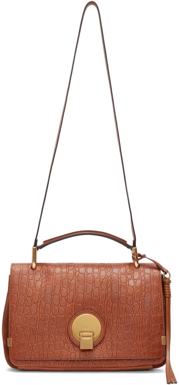 Chloe Brown Croc-embossed Medium Indy Bag