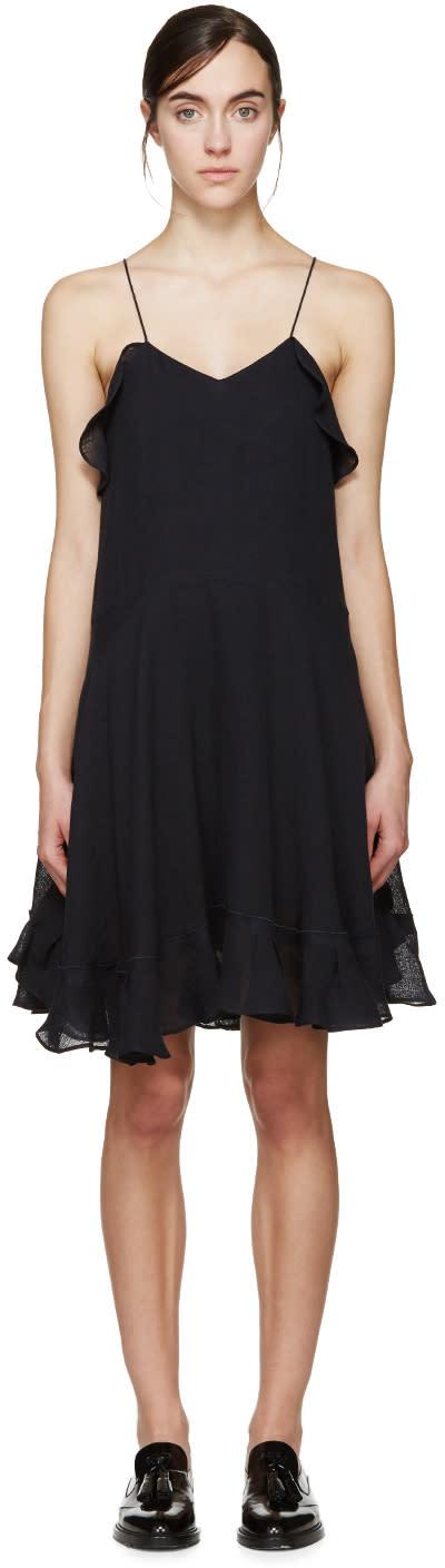 Chloe Navy Linen Ruffled Dress