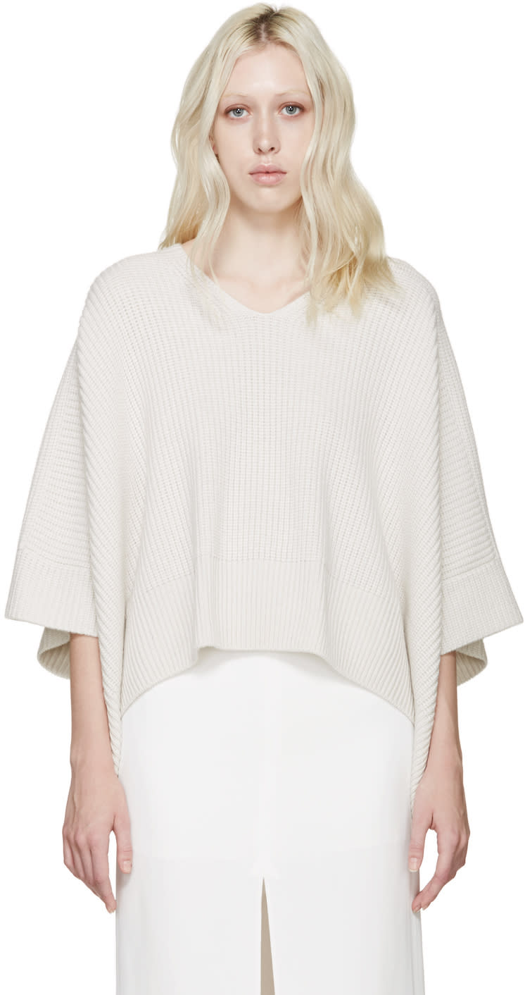 Chloé White Cashmere Iconic Poncho