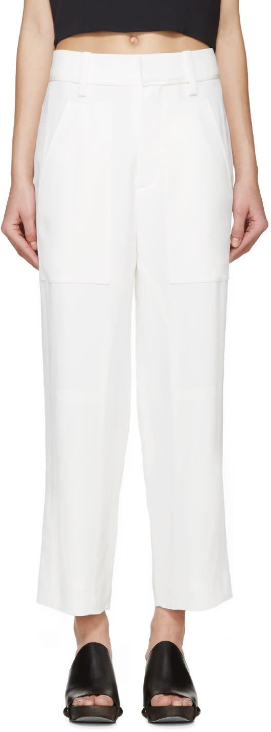 Chloe White Cady Straight-leg Trousers
