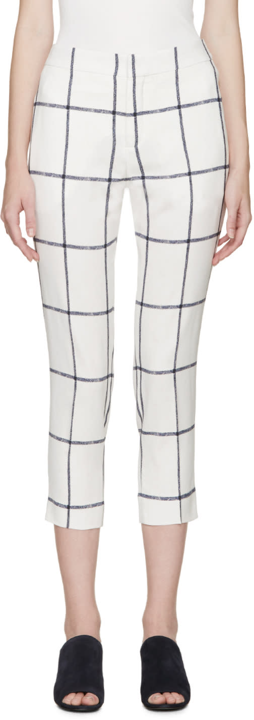 Chloe Cream and Navy Square Trousers