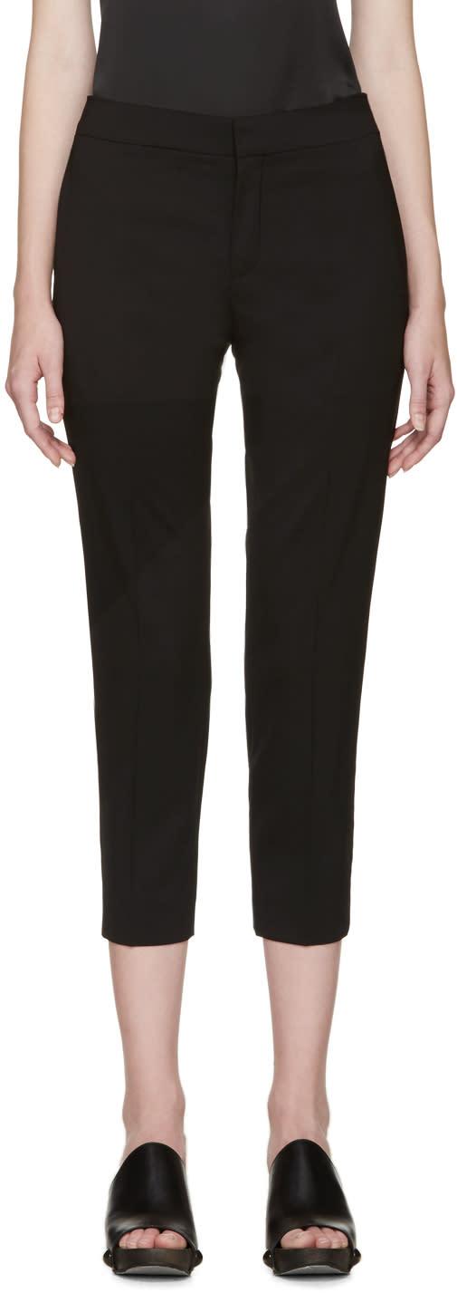 Chloe Black Wool Cropped Trousers