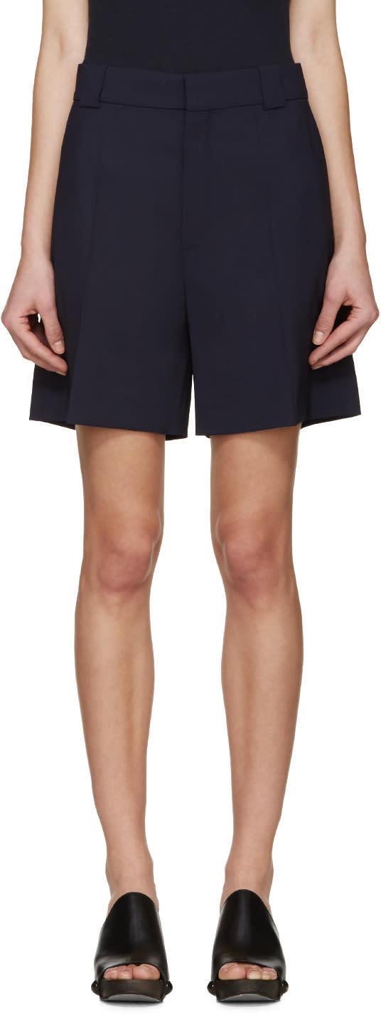 Chloe Navy Wool Shorts