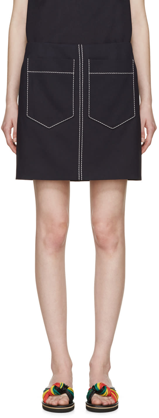 Chloe Navy Double-pocket Miniskirt