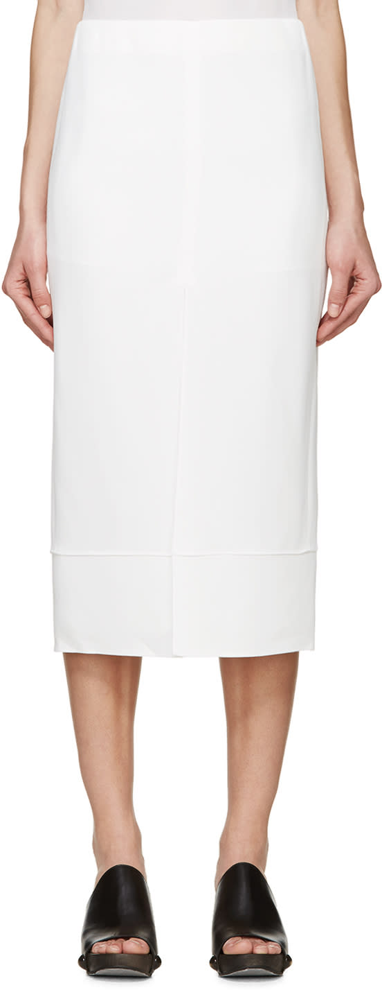 Chloe White Cady Slit Skirt