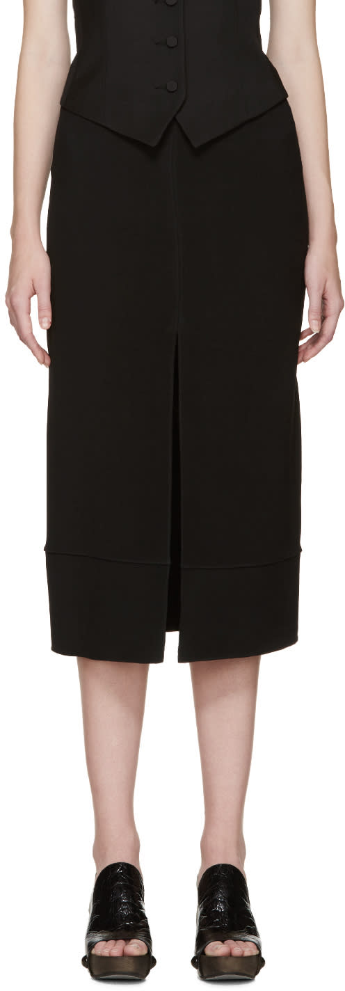 Chloe Black Cady Slit Skirt