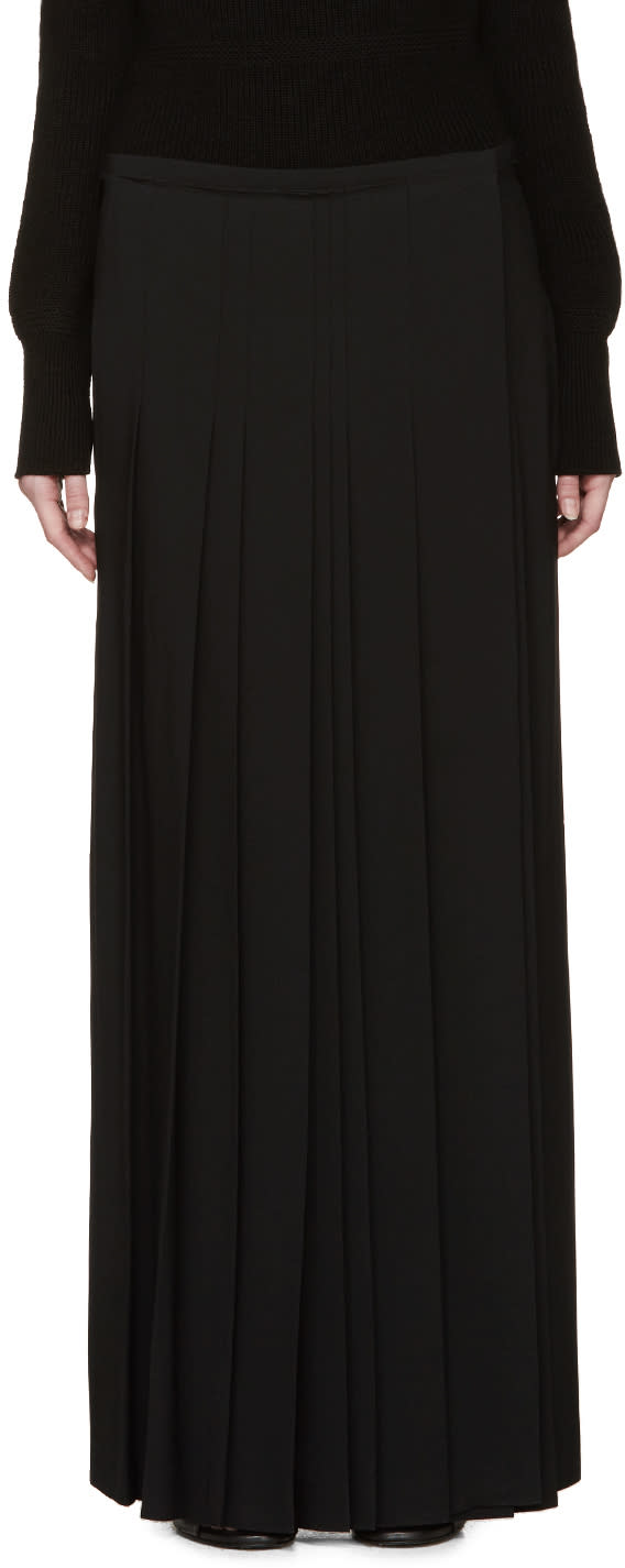 Chloe Black Cady Pleated Wrap Skirt
