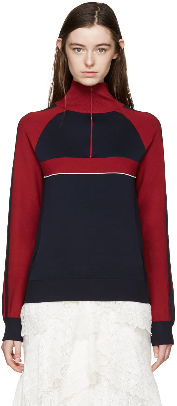 Chloe Navy Silk Sporty Sweater