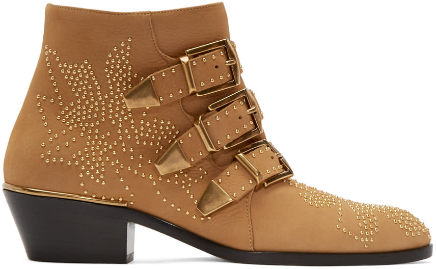 Chloe Tan Suede and Gold Studded Susanna Boots