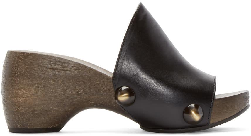 Chloe Black Wooden Clog Heels