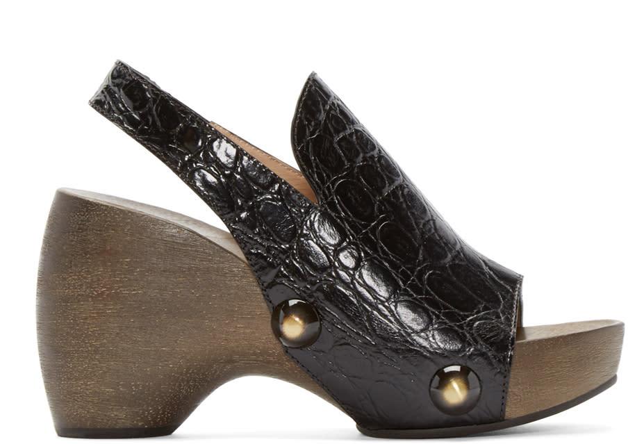Chloe Black Croc-embossed Clog Heels