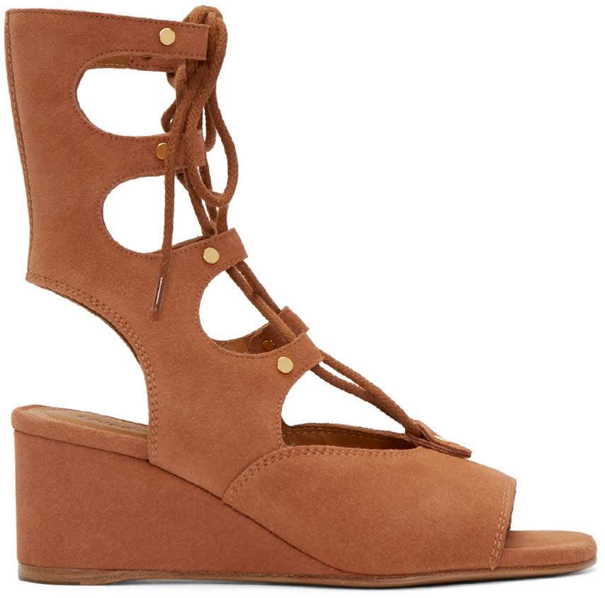 Chloe Camel Suede Gladiator Foster Sandals