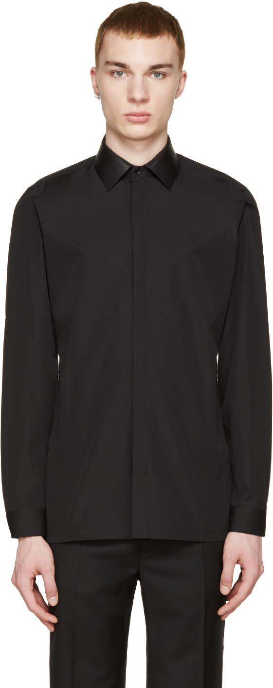 Balenciaga Black Leather Collar Shirt