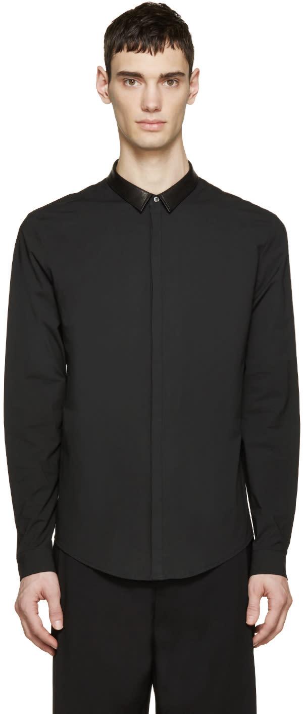 Juun.j Black Leather Collar Shirt