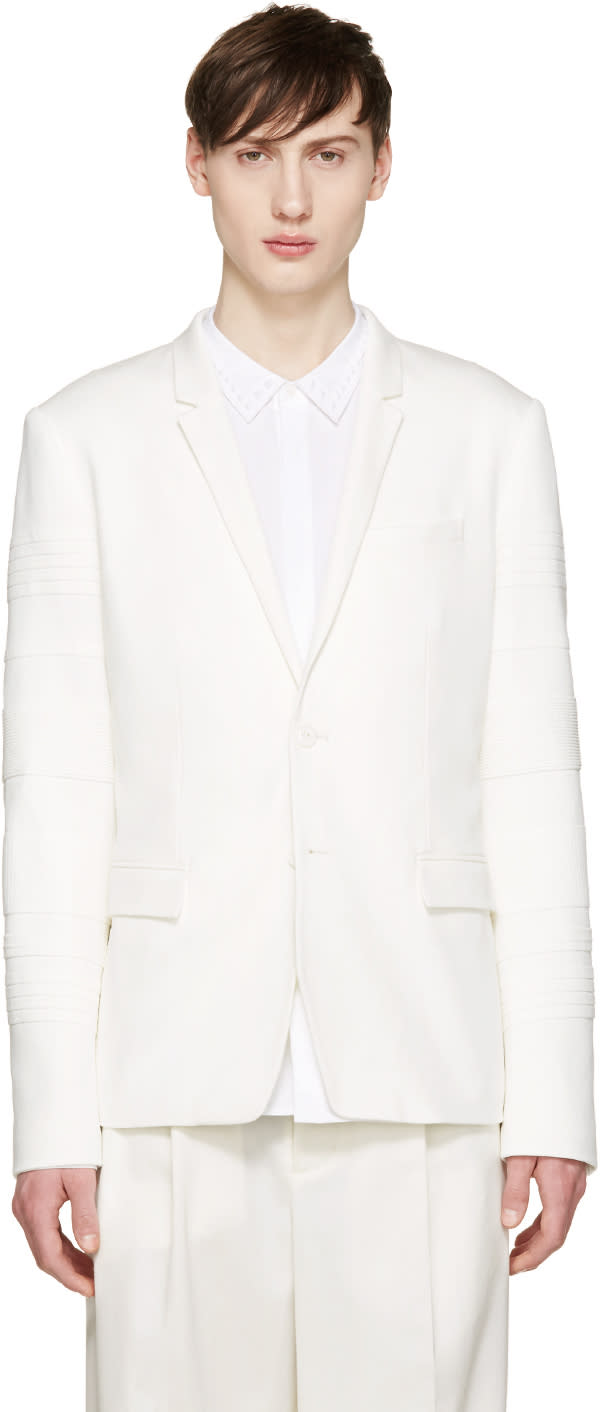 Juun.j White Ribbed Sleeve Blazer