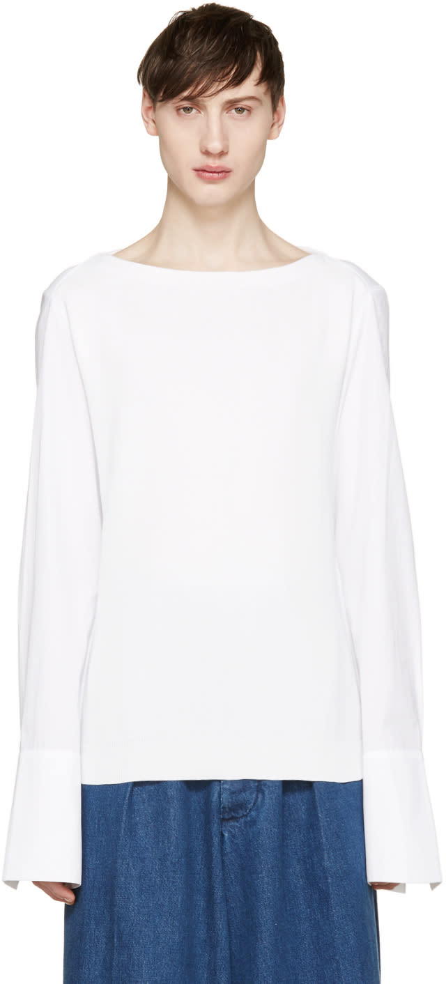 Juun.j White Poplin Sleeve Pullover