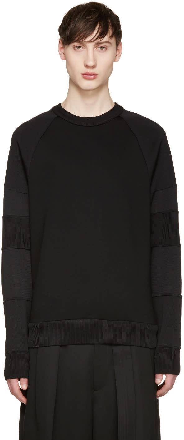 Juun.j Black Mixed Knit Pullover