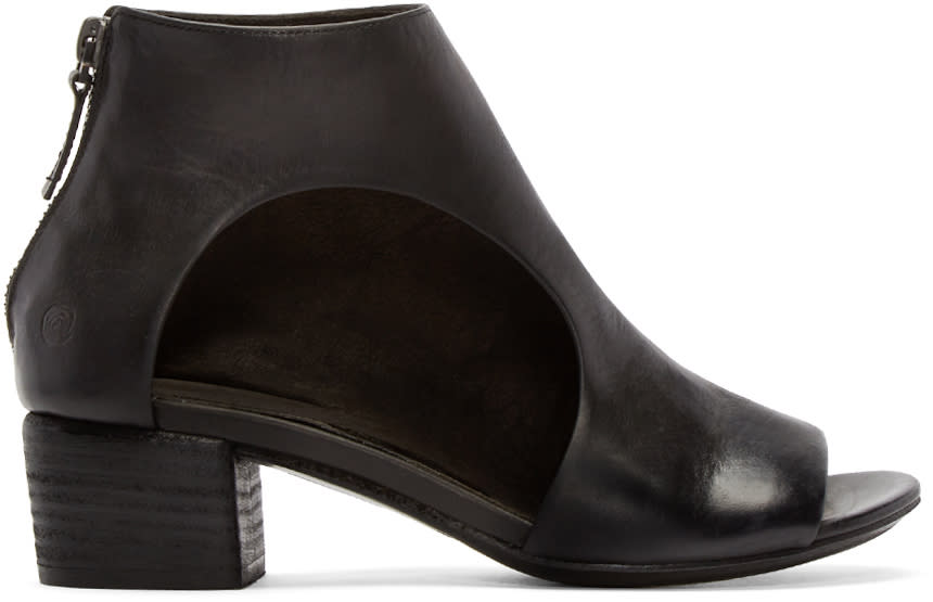 Marsell Black Leather Bo Sandalo Ankle Boots