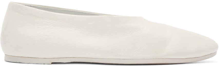 Marsell White Leather Mosso Flats