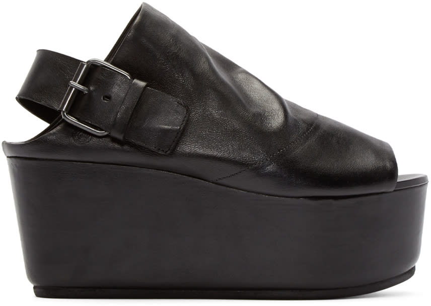 Marsell Black Leather Platform Tampolo Sandals