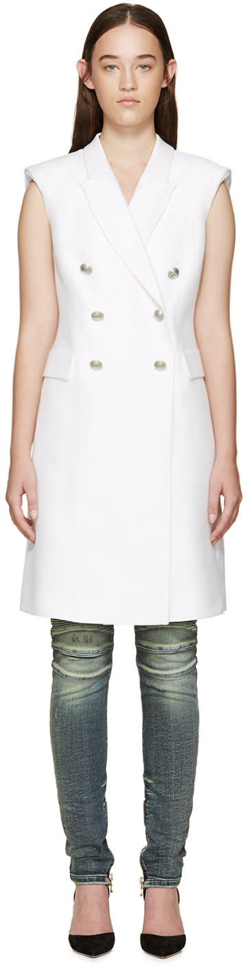 Pierre Balmain White Long Double-breasted Vest