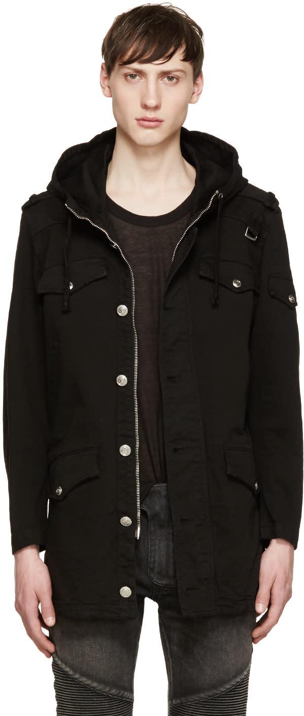 Pierre Balmain Black Hooded Twill Jacket