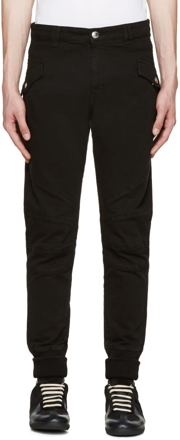 Pierre Balmain Black Ribbed Cuff Biker Trousers