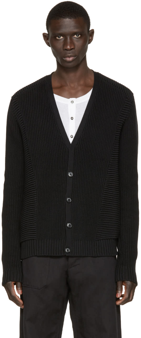 Pierre Balmain Black Cotton Cardigan