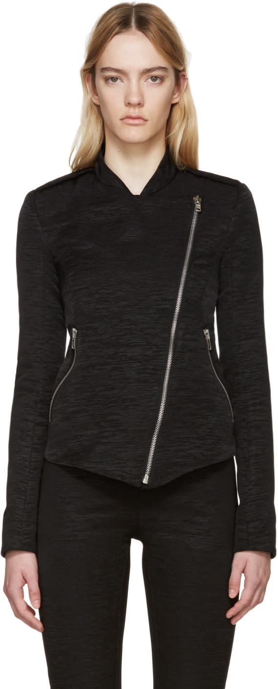 Gareth Pugh Black Textured Cotton Zip Jacket