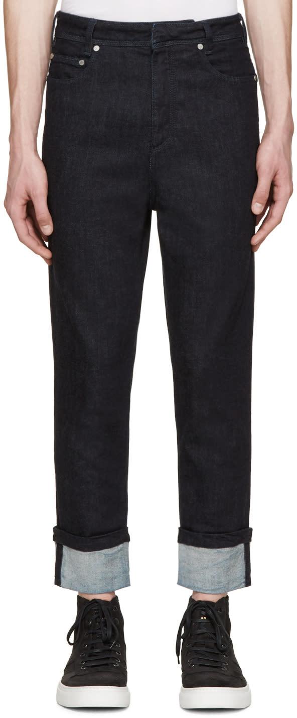 Neil Barrett Indigo Cropped Cuffed Jeans