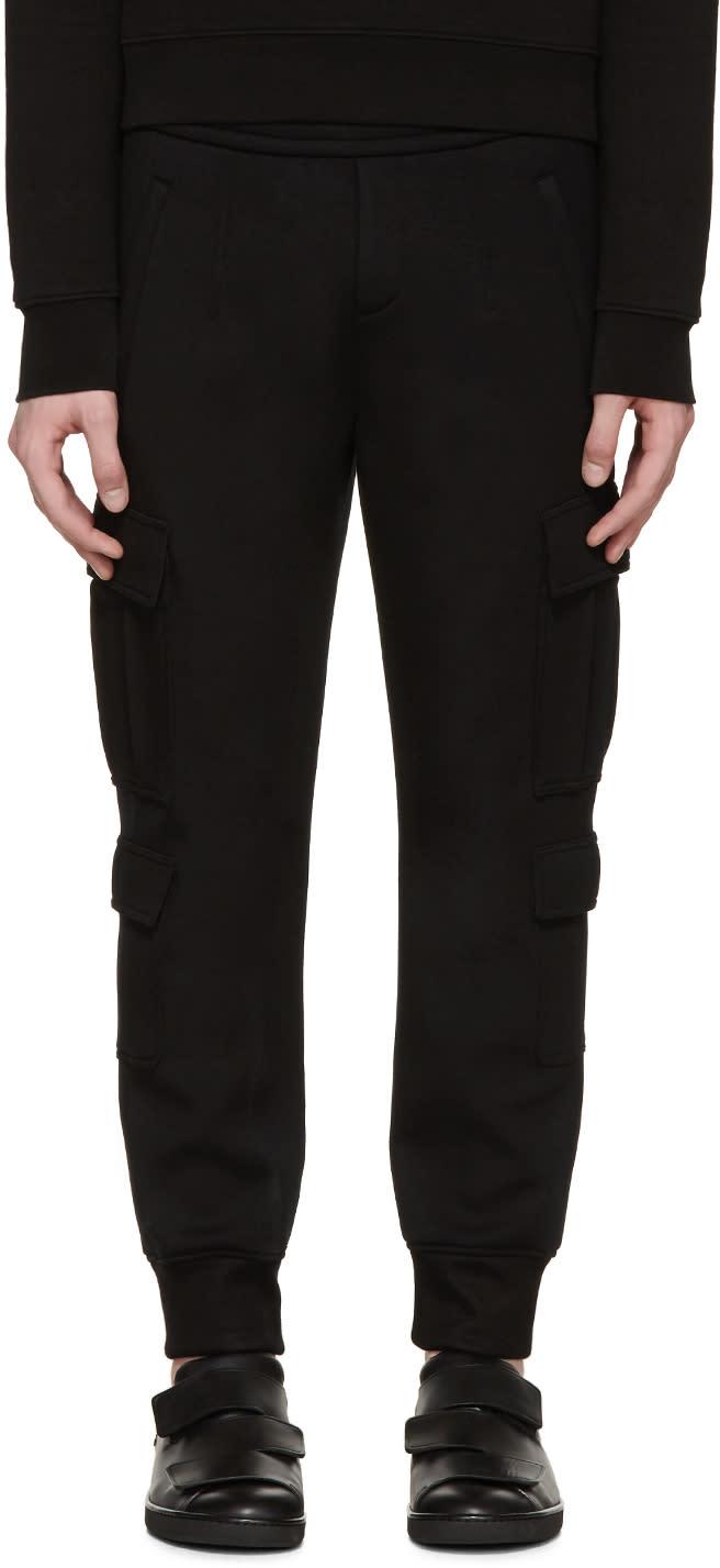 Neil Barrett Black Neoprene Cargo Lounge Pants