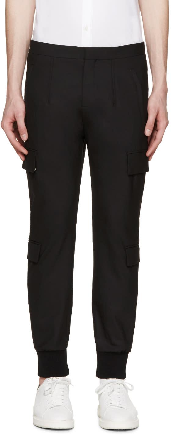 Neil Barrett Black Gabardine Cargo Trousers