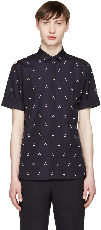 Neil Barrett Navy Micro Batik Shirt