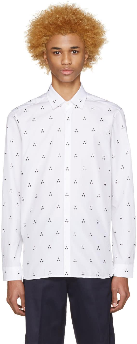 Neil Barrett White Micro Batik Shirt