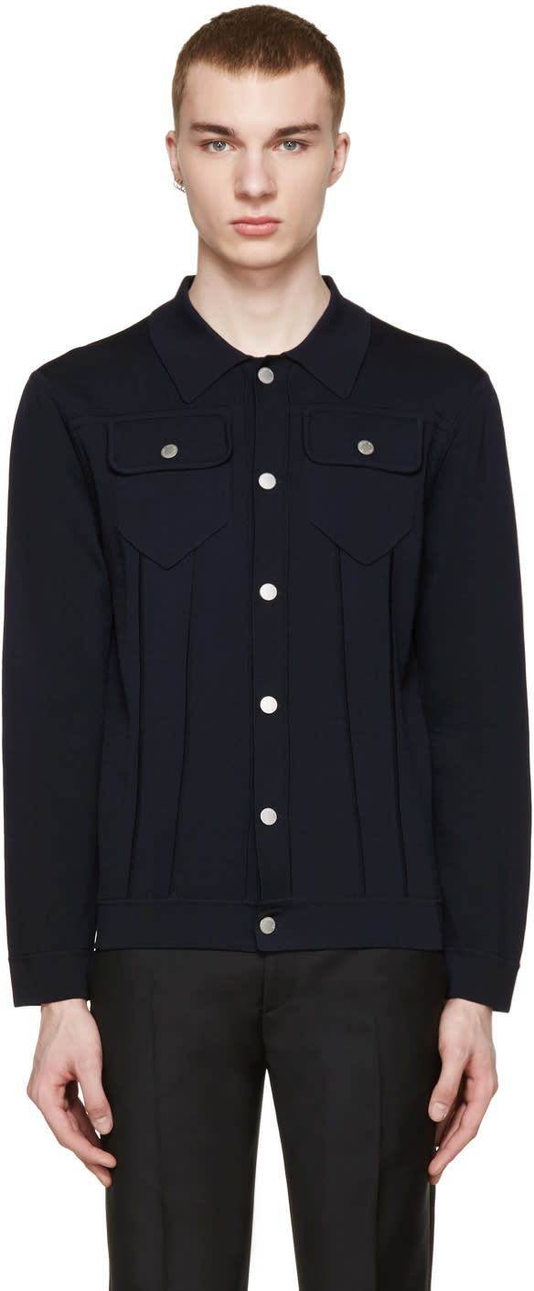 Neil Barrett Navy Stretch-knit Cardigan