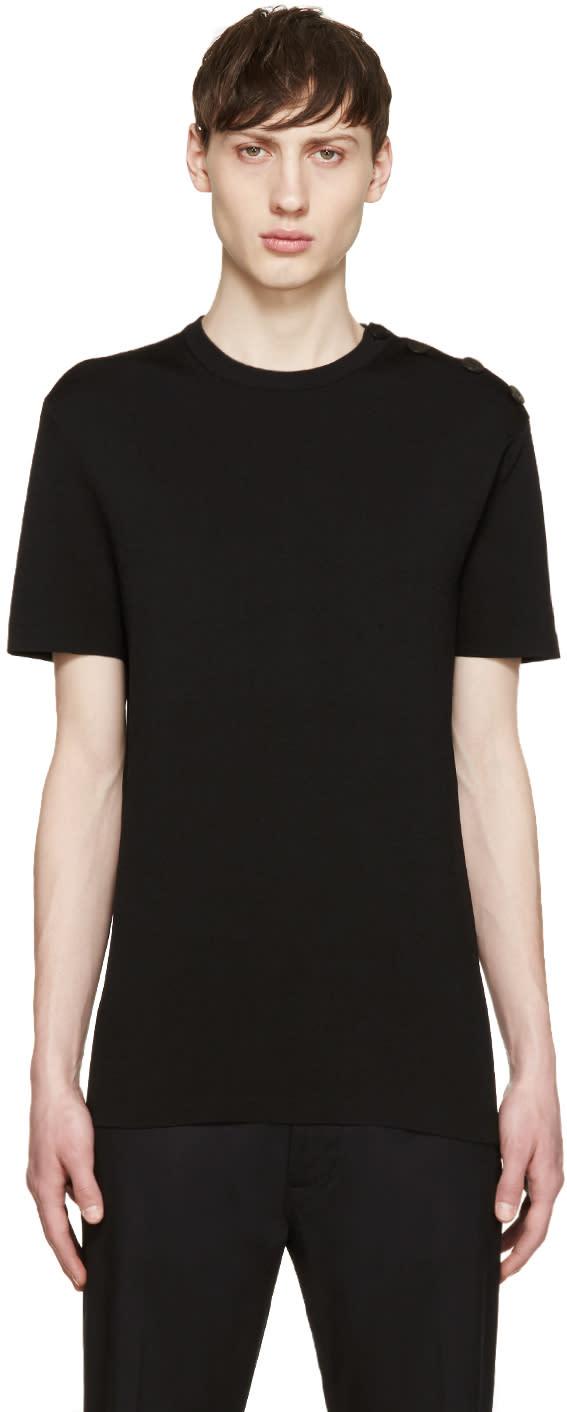 Neil Barrett Black Buttoned Knit T-shirt