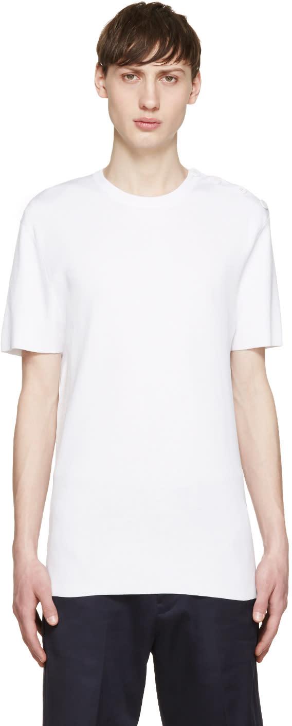 Neil Barrett White Knit Buttoned T-shirt
