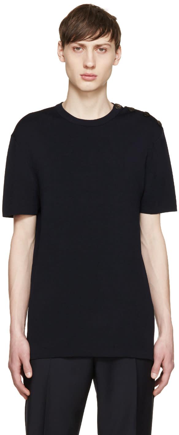 Neil Barrett Navy Knit Buttoned T-shirt