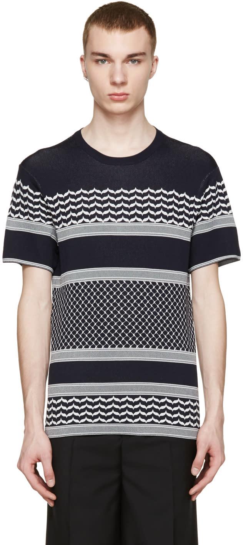 Neil Barrett Navy and White Knit T-shirt