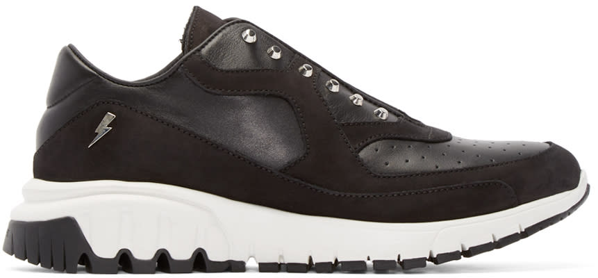 Neil Barrett Black Studded Thunderbolt Sneakers